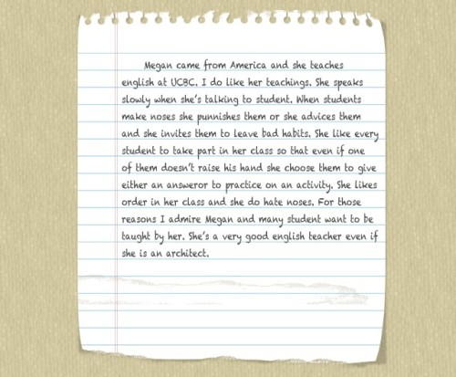 student paragraph notebook paper